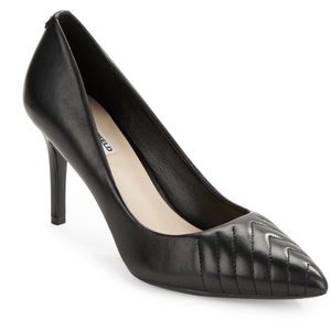 Karl Lagerfeld Roulle Heel Quilted Leather Black 6